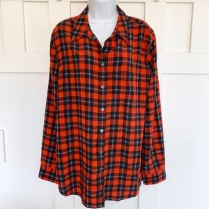 Equipment Femme Red Plaid Silk Button Down Top